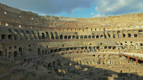 Tourists at Colosseum arena, Rome, Italy, 4k,UHD Footage