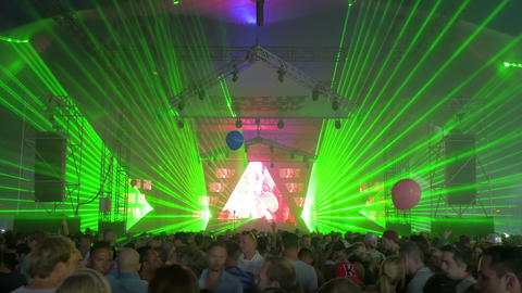 Dancing crowd at night club, 4k, UHD Footage