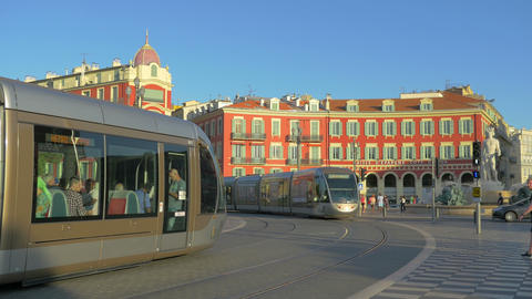 Public tram at Nice street, France, 4k, UHD Live Action
