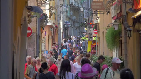 People traffic at Nice street, France, slow motion Footage
