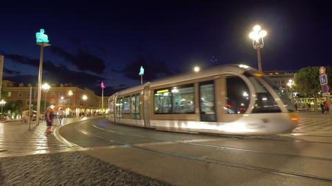 Night traffic at Nice street, France Footage