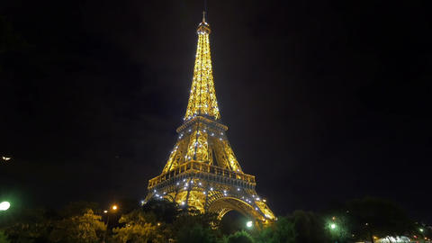 Eiffel tower at night Footage