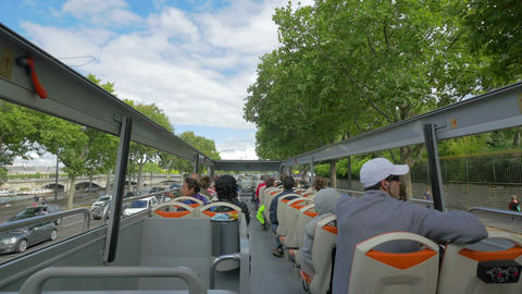 Paris from a tour bus, France Footage