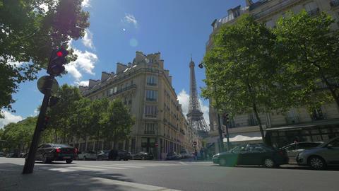 Street scene in Paris with Eiffel Tower, France, 4k, UHD Footage