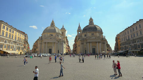 Tourists at Piazza del Popolo, Rome, Italy, 4k, UHD Footage
