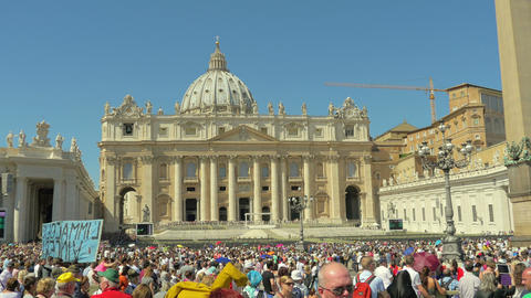 People listening Pope Francis in Vatican, Italy, 4k, UHD Footage