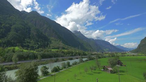 Alpine valley in Switzerland, 4k UHD Footage