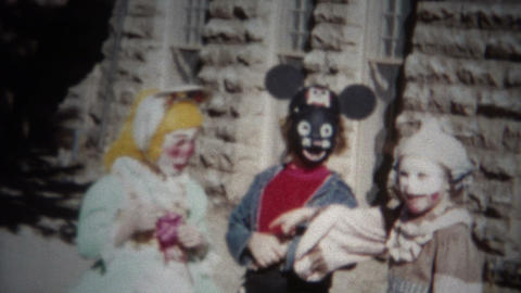 (8mm Film) Halloween Costumes Outside of School 1955 Live Action