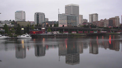 Tacoma Waterfront Thea Foss Waterway Downtown City Skyline ビデオ