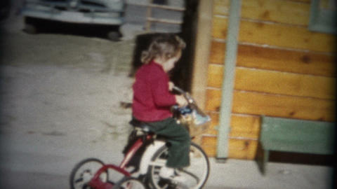 (8mm Film) Girl Riding Tricycle In Circle 1957 Footage