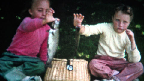 (8mm Film) Girl Fishing Catch On Shore 1955 stock footage