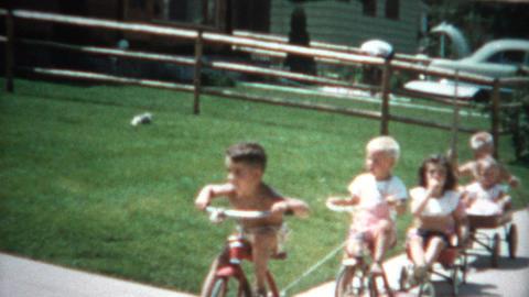 (8mm Film) Gang of Kids on Bikes 1955 Footage