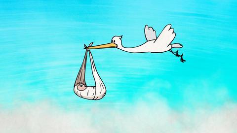 Stork Bringing a Newborn Baby Animation