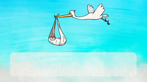 Stork Bringing a Newborn Baby (Greeting card) Animation