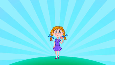 Walking Girl with Lollipop Animation