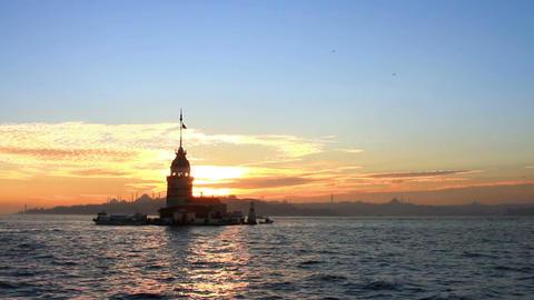 Sunset and reflections. Istanbul, Kiz Kulesi Footage