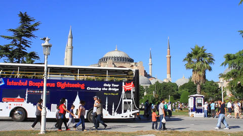 Tourist Buses In Front Of Hagia Sophia stock footage