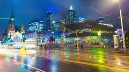 4k timelapse video of downtown Melbourne at night 영상물