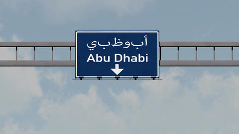 4K Passing Abu Dhabi UAE Highway Road Sign with Matte 1 neutral Animation