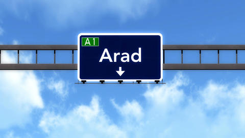 4K Passing Arad Romania Highway Road Sign With Matte 2 Stylized stock footage
