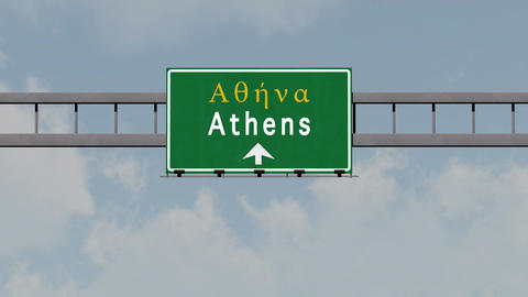 4K Passing Athens Greece Highway Road Sign with Matte 1 neutral Animation