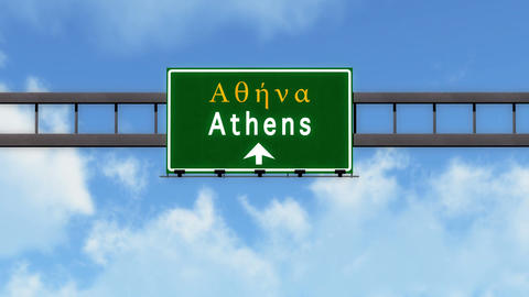 4K Passing Athens Greece Highway Road Sign with Matte 2 stylized Animation