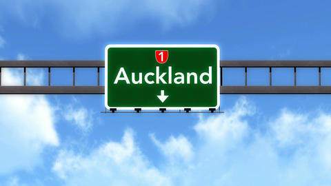 4K Passing Auckland New Zealand Highway Road Sign with Matte 2 stylized Animation