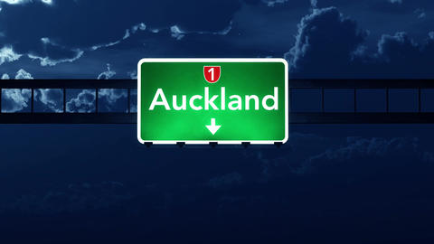 4K Passing Auckland New Zealand Highway Sign at Night with Matte 2 stylized Animation