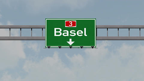 4K Passing Basel Switzerland Highway Road Sign with Matte 1 neutral Animation