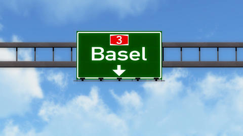 4K Passing Basel Switzerland Highway Road Sign with Matte 2 stylized Animation