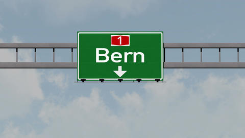 4K Passing Bern Switzerland Highway Road Sign with Matte 1 neutral Animation