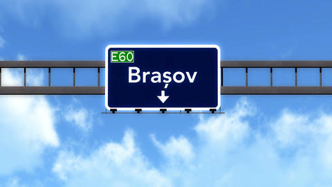 4K Passing Brasov Romania Highway Road Sign With Matte 2 Stylized stock footage