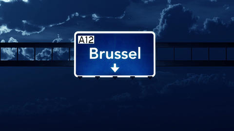 4K Passing Brussel Belgium Highway Sign At Night With Matte 4 Stylized stock footage