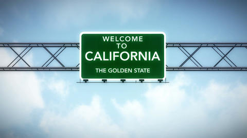 4K Passing California USA State Border Welcome Road Sign with Matte 2 stylized Animation