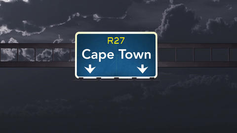 4K Passing Cape Town South Africa Highway Sign at Night with Matte 1 neutral Animation
