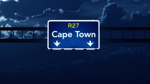 4K Passing Cape Town South Africa Highway Sign at Night with Matte 2 stylized Animation