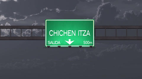 4K Passing Chichen Itza Mexico Highway Road Sign at Night with Matte 1 neutral Animation