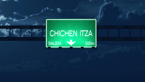 4K Passing Chichen Itza Mexico Highway Road Sign at Night with Matte 2 stylized Animation