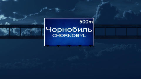 4K Passing Chornobyl Ukraine Highway Road Sign at Night with Matte 2 stylized Animation