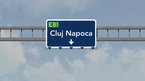 4K Passing Cluj Napoca Romania Highway Road Sign With Matte 1 Neutral stock footage