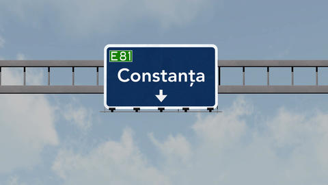 4K Passing Constanta Romania Highway Road Sign With Matte 1 Neutral stock footage