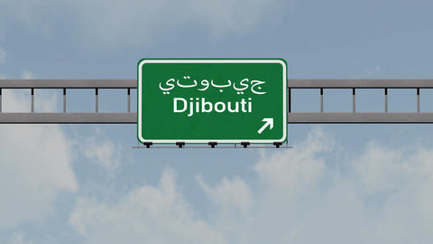 4K Passing Djibouti Highway Road Sign with Matte 1 neutral Animation