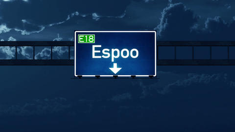 4K Passing Espoo Finland Highway Road Sign at Night with Matte 2 stylized Animation
