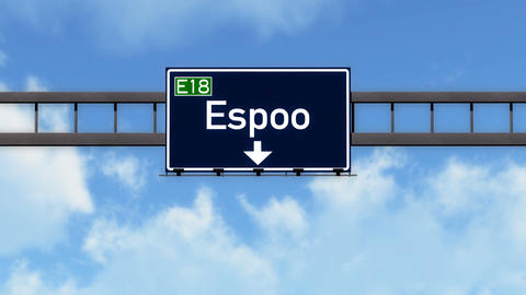 4K Passing Espoo Finland Highway Road Sign with Matte 2 stylized Animation