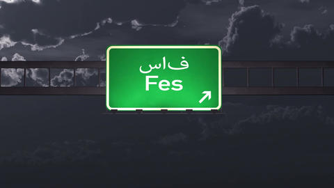 4K Passing Fes Morocco Highway Sign at Night with Matte 1 neutral Animation
