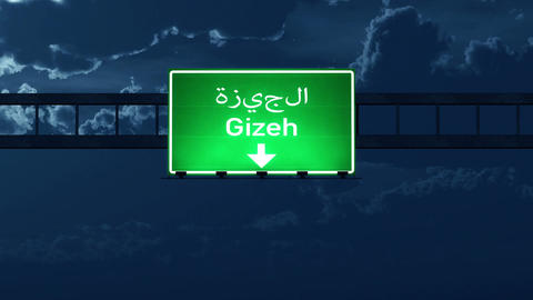 4K Passing Gizeh Egypt Highway Road Sign at Night with Matte 2 stylized Animation
