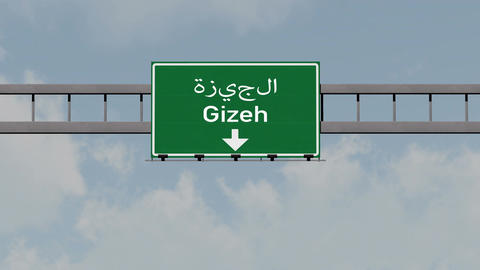 4K Passing Gizeh Egypt Highway Road Sign with Matte 1 neutral Animation