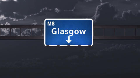 4K Passing Glasgow Scotland Highway Sign at Night with Matte 1 neutral Animation
