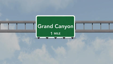 4K Passing Grand Canyon United States Highway Road Sign with Matte 1 neutral Animation