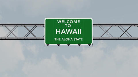 4K Passing Hawaii USA State Border Welcome Road Sign with Matte 1 neutral Animation